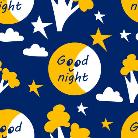 Good night, seamless vector pattern with star, moon. tree. Cartoon colorful pattern. Wallpaper or fabric for children, vector background
