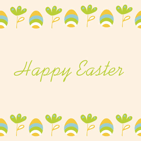 Easter background with eggs and flowers . Hand drawn Vector Doodle illustration