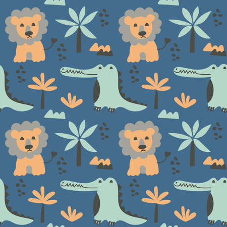 Seamless pattern with cute lions and crocodiles. African animals and jungle plants in flat style. Childrens Vector background