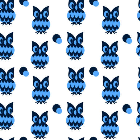 Seamless two-color pattern with cute owls. Blue and cyan colors. Vector background  イラスト・ベクター素材