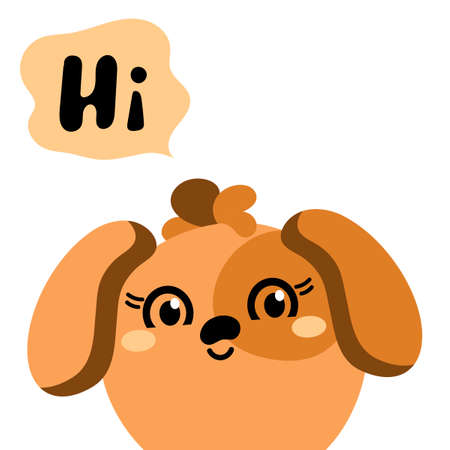 Cute dog with long ears.Vector animal Head. Kawaii . The flat design is isolated on a white background. Design greeting cards