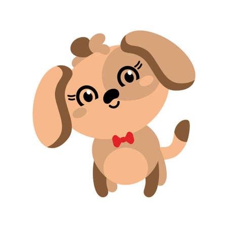 Cute puppy cartoon hand drawn vector illustration. Big eyes. Funny kawaii animal. Can be used for t-shirt print, kids fashion , baby shower , birthday card