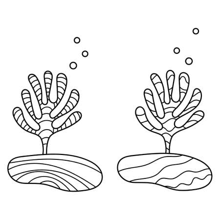 Coloring book. Underwater world of ocean plants. Anti-stress sketch by hand drawing with Doodle elements.  イラスト・ベクター素材