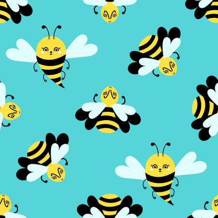Flying Bee Cartoon. Seamless pattern on blue. Cute insects for wallpaper, fabric and other.