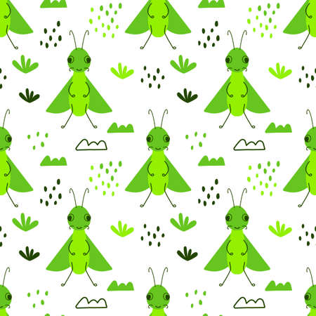 Vector seamless pattern with cute insect bug and Doodle elements on a white background. Flat design for children. Cartoon kawaii funny character.