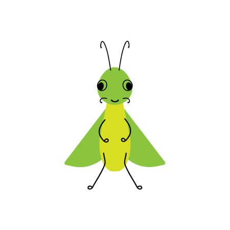 Vector insect, bug Grasshopper . Flat design for children. Cute cartoon kawaii funny Doodle character.