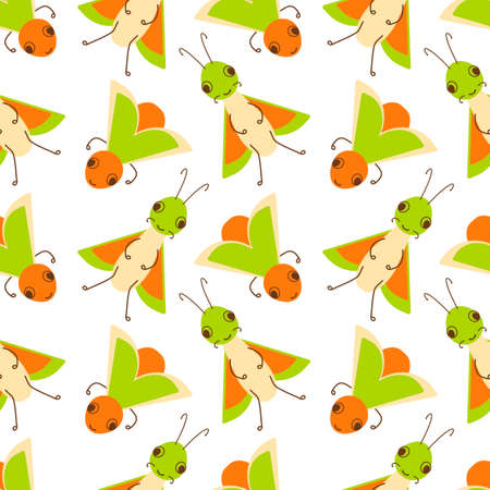 Vector seamless pattern with a cute insect bug and doodle element on a white background. Flat design for children. Cartoon kawaii funny character.