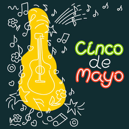 Cinco de Mayo, federal holiday in Mexico. May 5. Vector hand drawn lettering, Doodle background. Poster music concert, festival on dark background.