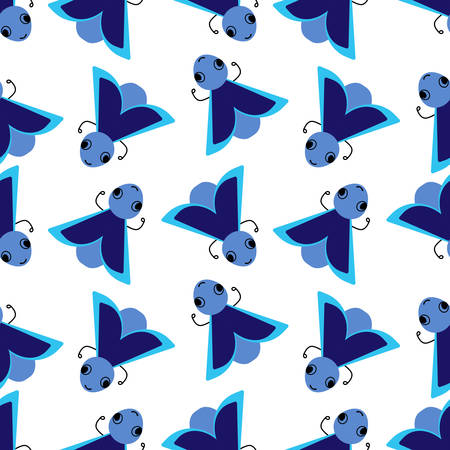 Vector seamless pattern with a cute blue insect bug on a white background. Flat design for children. Cartoon kawaii funny character.