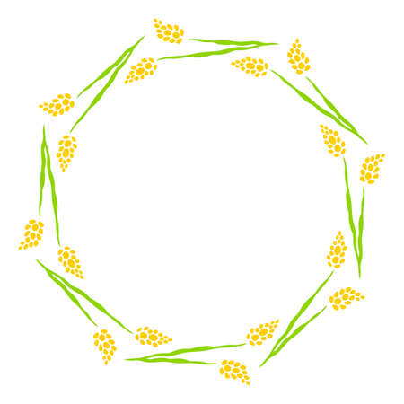 Frame of spring yellow flowers for text. Floral wreath of flowers. Hand drawn isolated illustration on white background.