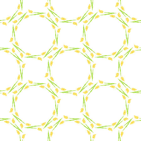 Seamless pattern with Floral wreath of flowers yellow flowers. Hand drawn illustration on white background.