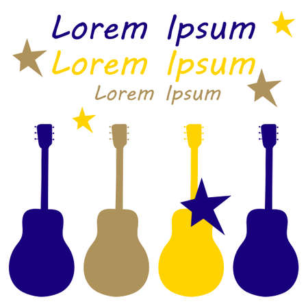 Poster of a musical concert or festival. Colored silhouettes of guitars on a white background. Space for text. Vector illustration.  イラスト・ベクター素材