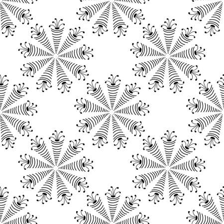 Seamless pattern with a Simple mandala on a white background. Vector Hand drawn illustration. Black and white. Ilustracje wektorowe