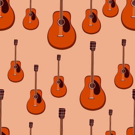 Guitar seamless pattern. Stringed musical instrument. Vector illustration .