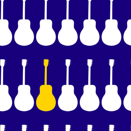 Silhouettes of classical guitars on a blue background. Seamless pattern. Иллюстрация