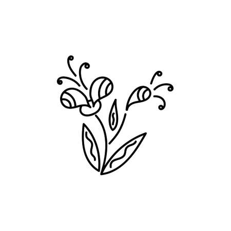 Hand-drawn coloring book . Doodle of flowers isolated on a white background. Coloring pages for adults and kids. Vector illustration.  イラスト・ベクター素材