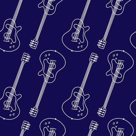 Guitar seamless pattern. Stringed musical instrument. Vector illustration of hand drawn acoustic guitar on a blue background.