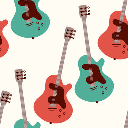 Guitar seamless background. Stringed musical instrument. Vector illustration of colored acoustic guitar on a light background.