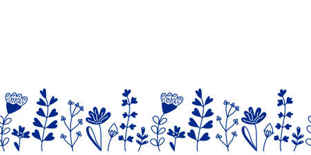Seamless border of spring or summer forest and meadow plants, flowers. Silhouettes and contours of green plants. Hand-drawn vector illustration. For postcards, invitations, and other things. Place for text