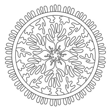Sea Mandala. Coloring pages for children and adults. Stylized corals and algae, stars. Abstract hand drawn illustration isolated on a white background. Hand-drawn doodles for a coloring book, cover, or background. Vector illustration. 向量圖像