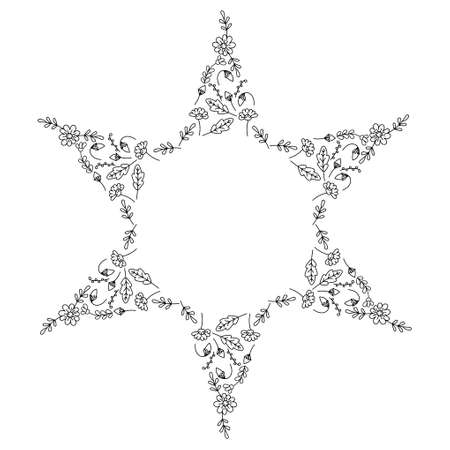 Coloring pages for children and adults . Decorative six -pointed star with abstract flowers and leaves. Isolated on a white background. Hand- drawn doodles for a coloring book, cover , or background. Vector illustration. Ilustração