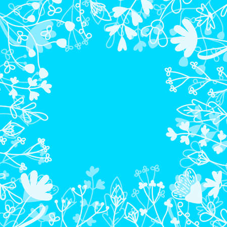 Floral card with place for text. Hand drawn Meadow flowers , leaf and grasses on blue background . Vector illustration.