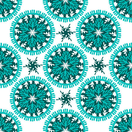 Seamless pattern with Sea Mandala. Stylized corals and algae, stars. Abstract hand drawn illustration isolated on a white background. Hand- drawn doodles for fabric, paper , and other surfaces. Aqua. Vector illustration.