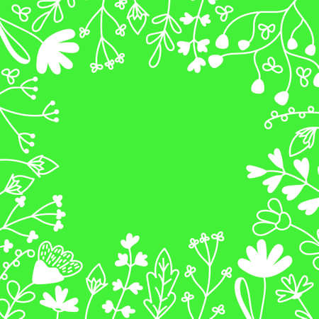 Floral card with place for text. Hand drawn Meadow flowers , leaf and grasses on green background . Vector illustration.
