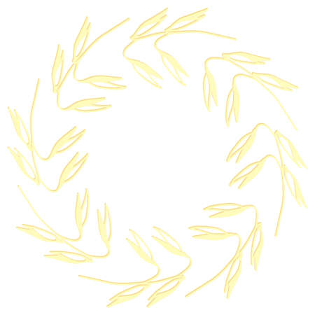 Frame of oat ears for text. Hand drawn vector illustration on a white background. Ilustração Vetorial