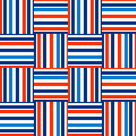 Checkered pattern. Horizontal and vertical stripes of different widths. Blue, light blue, orange colors. Seamless geometric pattern.