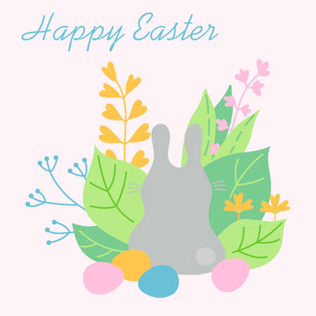 Happy Easter. Easter Bunny and eggs, plants and flowers . Hand-drawn vector illustration. Foto de archivo - 142863878