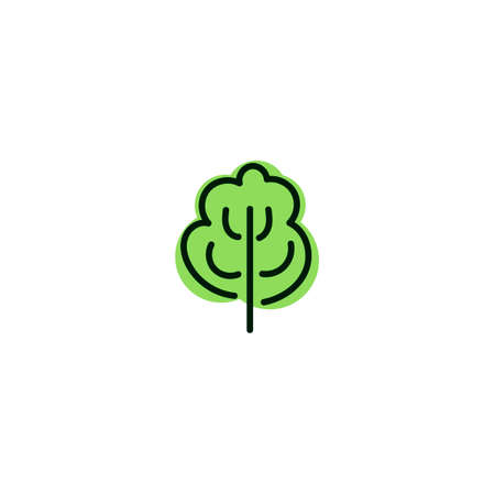 Green and black tree icon on white background. Isolated forest hand drawn nature illustration. Tree silhouette icon.