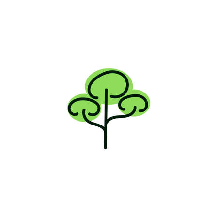 Green and black tree icon on white background. Isolated forest hand drawn nature illustration. Tree silhouette icon. Vector Stock Illustratie