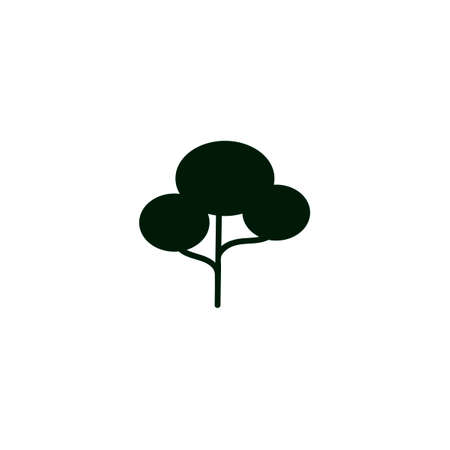 black tree icon on white background. Isolated forest hand drawn nature illustration. Tree silhouette icon.