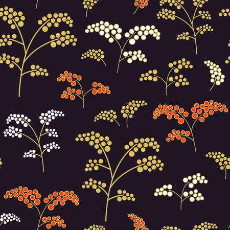 Seamless textile pattern with hand-drawn doodles of colorful branches with berries on a dark background. Traditional native art vector ornament, folk pattern.