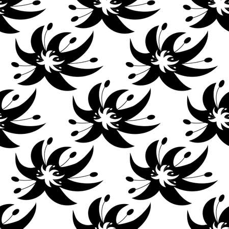 Floral seamless black and white pattern in a flat style. Fantastic hand-drawn abstract flowers similar to lilies. Foto de archivo - 143290786