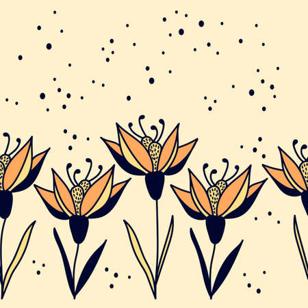 Seamless border with lilies. Floral hand drawn pattern on a light background . Vector illustration. Foto de archivo - 143290790