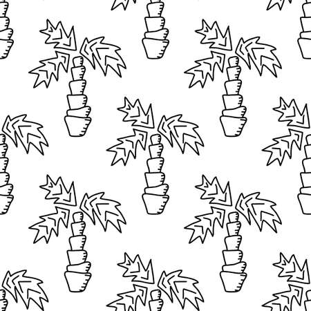 Contours of palm trees, vector seamless pattern. Suitable for fabric, Wallpaper, paper and other surfaces. Great hand drawn background for children's design. Black and white.