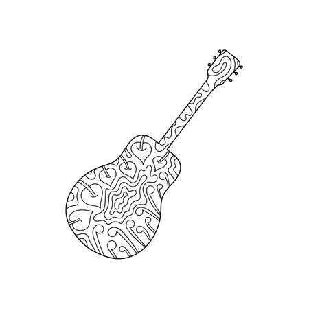 Contour musical instrument guitar, hand-drawn coloring book . Anti-stress coloring pages for adults and children. Vector illustration .