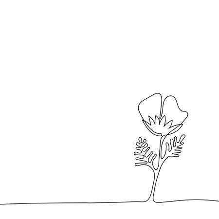 Continuous linear drawing. Flower with leaves. Hand-drawn vector illustration. One line art. Template for greeting cards and invitations. Space for your text,