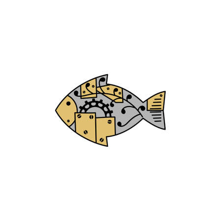Fish in the style of steampunk. Hand drawn vector illustration isolated on a white background.