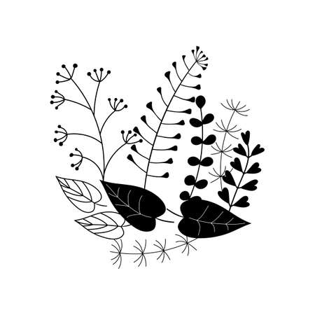 Silhouettes of simple twigs, leaves and herbs, herbarium. Vector hand drawing black and white. Composition for your design.