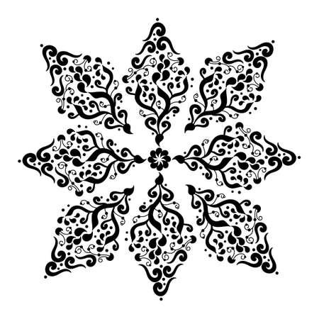 Flower, decorative element, mandala of 8 petals. Hand drawn Mehndi design. Ethnic monochrome doodle texture. Curved doodling. Black and white vector illustration.
