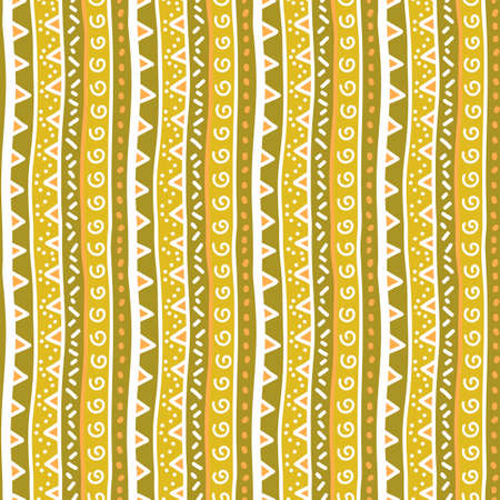 Vector seamless patternl with Ancient tribal ethnic symbols. Ritual screen printing of African peoples and tribes . Artistic hand drawn illustration for fabric and other surfaces. Ilustração