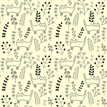 Seamless pattern with funny hand drawn cats and herbaceous plants. Animals vector illustration with adorable kitten for fabric and other surface. Monochrome Illustration