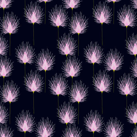 Seamless pattern with meadow flowers on a blue background. Hand drawn Botanical background.