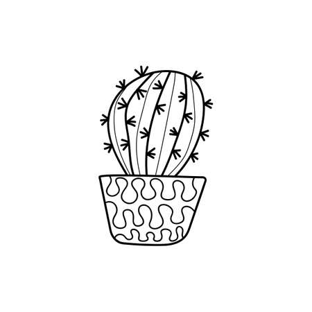 Indoor potted plant, Doodle style . Cute cactus. Black and white pattern for coloring books for adults and children. Hand-drawn vector illustration.