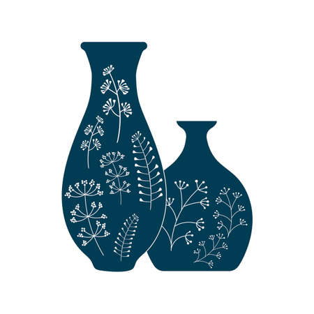 Handmade pottery, ceramic vases painted by hand. Pottery hobby. Flat vector illustration, Blue and white Ilustración de vector
