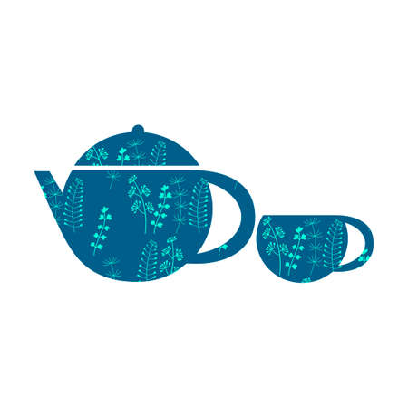 Teapot and Cup with beautiful floral ornaments. Vector composition template for design. Flat style, white and blue colors