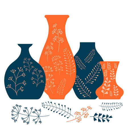 Handmade ceramics, ceramic vases and pots with a Botanical pattern. Pottery hobby. Flat vector illustration
